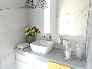 heksagon - Mała biała łazienka na poddaszu w bloku w domu jednorodzinnym bez okna, styl nowoczesny - zdjęcie od Karolina Czapla