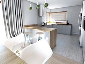 wood and grey - Średnia otwarta szara kuchnia w kształcie litery u z wyspą, styl nowoczesny - zdjęcie od Karolina Czapla