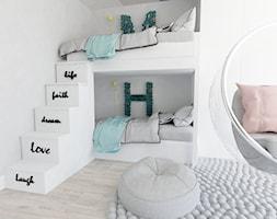 flaming - Mały biały pokój dziecka dla chłopca dla dziewczynki dla rodzeństwa dla malucha, styl nowoczesny - zdjęcie od Karolina Czapla