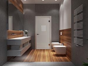 Projekt wnętrz 58m2. Pleśna - Średnia brązowa szara łazienka w bloku bez okna, styl nowoczesny - zdjęcie od PRØJEKTYW | Architektura Wnętrz & Design