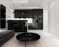 mieszkanie 36m2, Kraków Podgórze - Mała średnia otwarta kuchnia w kształcie litery l w kształcie litery u jednorzędowa w aneksie z wyspą, styl minimalistyczny - zdjęcie od PRØJEKTYW | Architektura Wnętrz & Design