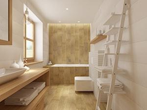 Dom weekendowy w Czorsztynie - Średnia biała beżowa łazienka w domu jednorodzinnym, styl skandynawski - zdjęcie od PRØJEKTYW | Architektura Wnętrz & Design