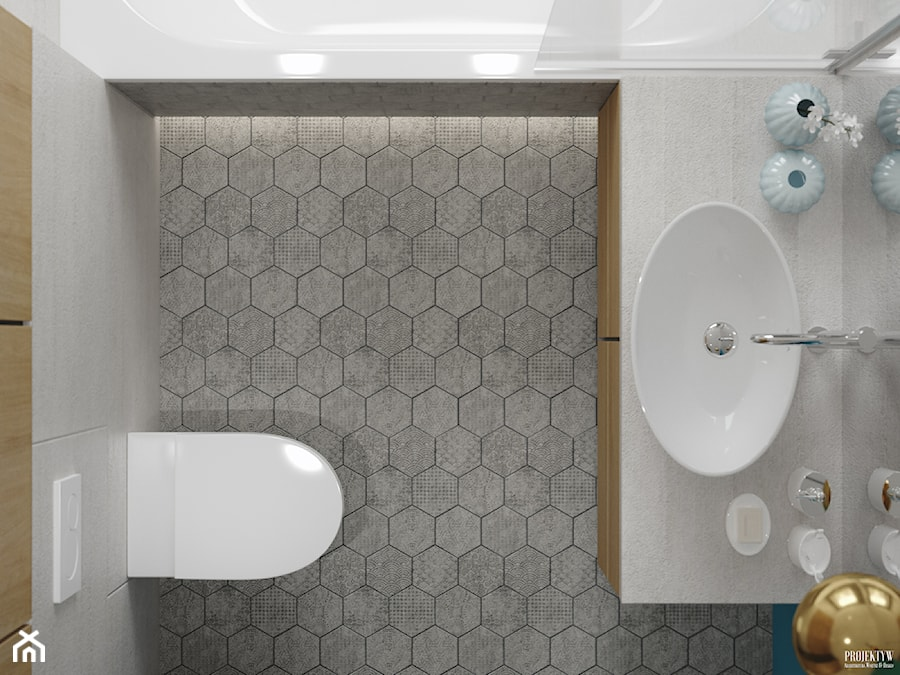 Projekt wnętrz mieszkania. Kraków-Żabiniec - Mała łazienka, styl skandynawski - zdjęcie od PRØJEKTYW   Architektura Wnętrz & Design