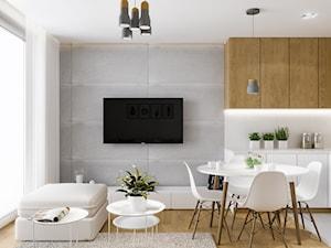 Projekt mieszkania. Kraków Nowe Czyżyny - Mała biała szara jadalnia w kuchni w salonie, styl skandynawski - zdjęcie od PRØJEKTYW | Architektura Wnętrz & Design