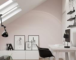 Projekt wnętrz domu jednorodzinnego w Krakowie - Małe szare białe biuro domowe kącik do pracy na poddaszu w pokoju, styl skandynawski - zdjęcie od PRØJEKTYW   Architektura Wnętrz & Design