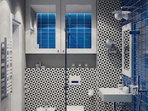 Projekt wnętrz domu jednorodzinnego w Krakowie - Mała biała czarna niebieska szara łazienka w bloku w domu jednorodzinnym bez okna, styl skandynawski - zdjęcie od PRØJEKTYW | Architektura Wnętrz & Design