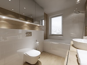 mieszkanie 34m2, Kraków Przewóz - Średnia beżowa łazienka, styl nowoczesny - zdjęcie od PRØJEKTYW | Architektura Wnętrz & Design
