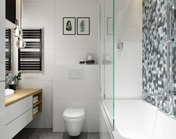 Projekt łazienki. Kraków Nowe Czyżyny - Mała biała łazienka w bloku, styl skandynawski - zdjęcie od PRØJEKTYW | Architektura Wnętrz & Design