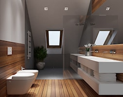 Projekt wnętrz 58m2. Pleśna - Średnia biała brązowa szara łazienka na poddaszu w domu jednorodzinnym z oknem, styl nowoczesny - zdjęcie od PRØJEKTYW | Architektura Wnętrz & Design
