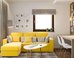 Projekt mieszkania. Kraków Bronowice - Mały biały salon z jadalnią, styl skandynawski - zdjęcie od PRØJEKTYW | Architektura Wnętrz & Design