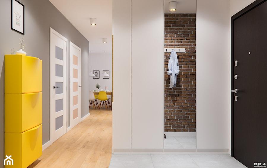 Projekt mieszkania. Kraków Śródmieście - Duży biały szary hol / przedpokój, styl nowoczesny - zdjęcie od PRØJEKTYW | Architektura Wnętrz & Design