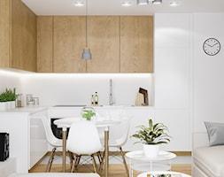 Projekt mieszkania. Kraków Nowe Czyżyny - Mała kuchnia w kształcie litery l w aneksie, styl skandynawski - zdjęcie od PRØJEKTYW | Architektura Wnętrz & Design