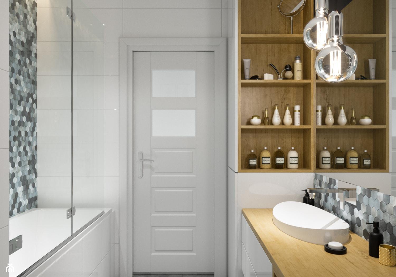 Projekt łazienki. Kraków Nowe Czyżyny - Mała łazienka w bloku bez okna, styl skandynawski - zdjęcie od PRØJEKTYW | Architektura Wnętrz & Design - Homebook