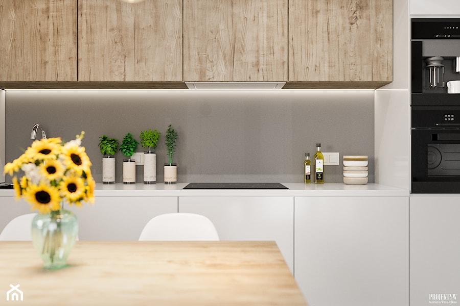 Projekt mieszkania. Kraków Bronowice - Średnia otwarta zamknięta szara kuchnia jednorzędowa, styl skandynawski - zdjęcie od PRØJEKTYW | Architektura Wnętrz & Design