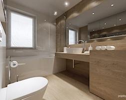 mieszkanie 34m2, Kraków Przewóz - Średnia beżowa brązowa łazienka, styl nowoczesny - zdjęcie od PRØJEKTYW | Architektura Wnętrz & Design