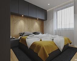 Projekt mieszkania. Kraków Nowe Czyżyny - Średnia beżowa biała sypialnia małżeńska, styl nowoczesny - zdjęcie od PRØJEKTYW | Architektura Wnętrz & Design - Homebook