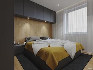Projekt mieszkania. Kraków Nowe Czyżyny - Średnia beżowa biała sypialnia małżeńska, styl nowoczesny - zdjęcie od PRØJEKTYW | Architektura Wnętrz & Design
