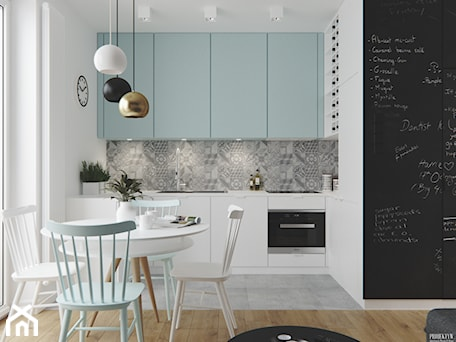Projekt wnętrz mieszkania. Kraków-Żabiniec - Mała biała szara czarna kuchnia jednorzędowa w aneksie, styl skandynawski - zdjęcie od PRØJEKTYW | Architektura Wnętrz & Design