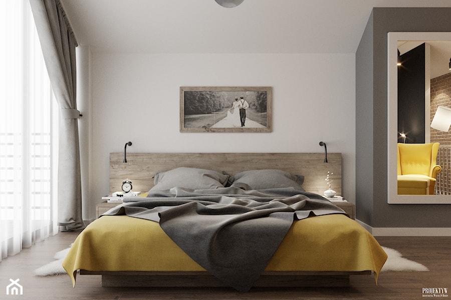 Projekt mieszkania. Kraków Bronowice - Średnia szara sypialnia małżeńska, styl skandynawski - zdjęcie od PRØJEKTYW   Architektura Wnętrz & Design