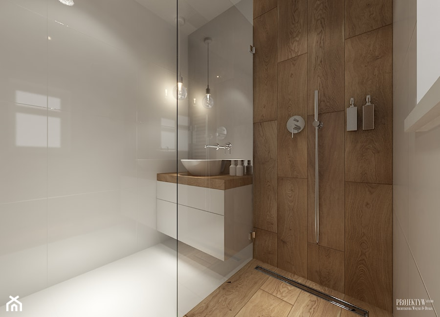 Projekt łazienek. Stratford, Anglia. - Mała biała brązowa łazienka w domu jednorodzinnym z oknem, styl skandynawski - zdjęcie od PRØJEKTYW | Architektura Wnętrz & Design