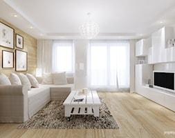 mieszkanie 34m2, Kraków Przewóz - Średni salon z bibiloteczką z tarasem / balkonem, styl nowoczesny - zdjęcie od PROJEKTYW | Architektura Wnętrz & Design