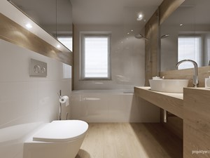 mieszkanie 34m2, Kraków Przewóz - Średnia biała beżowa łazienka, styl nowoczesny - zdjęcie od PRØJEKTYW | Architektura Wnętrz & Design