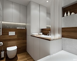 Projekt mieszkania. Kraków Śródmieście - Mała beżowa szara łazienka w bloku, styl nowoczesny - zdjęcie od PRØJEKTYW | Architektura Wnętrz & Design