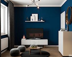 Projekt wnętrz domu jednorodzinnego w Krakowie - Mały niebieski salon, styl skandynawski - zdjęcie od PRØJEKTYW | Architektura Wnętrz & Design