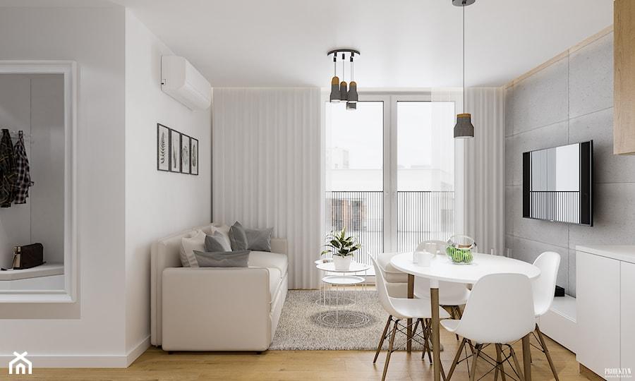 Projekt mieszkania. Kraków Nowe Czyżyny - Mały szary biały salon z jadalnią, styl skandynawski - zdjęcie od PRØJEKTYW | Architektura Wnętrz & Design