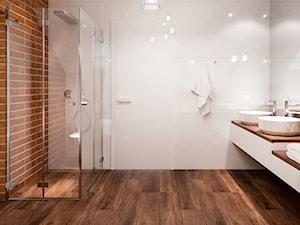 Projekty Łazienek. Wrocław - Duża biała brązowa łazienka jako salon kąpielowy, styl nowoczesny - zdjęcie od PRØJEKTYW | Architektura Wnętrz & Design