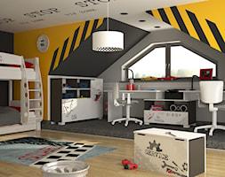 Kolekcje młodzieżowe - Duży szary żółty czarny pokój dziecka dla chłopca dla dziewczynki dla rodzeństwa dla ucznia dla nastolatka - zdjęcie od MEBLIK.pl