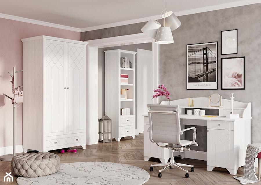 Kolekcja ReStyle - Duży szary beżowy pokój dziecka dla dziewczynki dla nastolatka, styl glamour - zdjęcie od MEBLIK.pl
