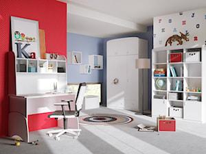 Kolekcje młodzieżowe - Średni biały niebieski czerwony pokój dziecka dla chłopca dla dziewczynki dla ucznia dla malucha dla nastolatka - zdjęcie od MEBLIK.pl