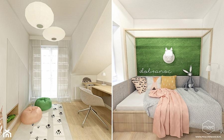 Sypialnia i pokój dziecka na poddaszu - wersja 2 - Mały biały szary pokój dziecka dla chłopca dla dziewczynki dla ucznia dla malucha dla nastolatka, styl nowoczesny - zdjęcie od MOJE Pracownia Projektowa