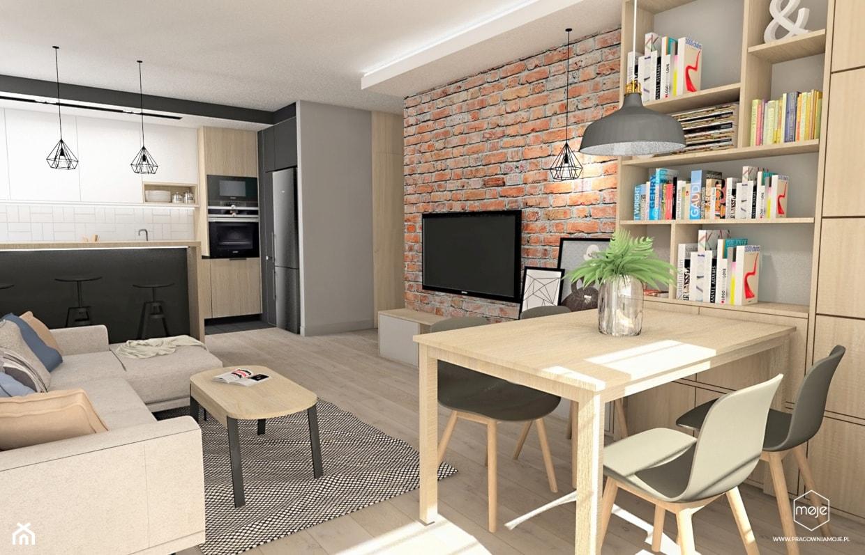 Strefa dzienna - Gdańsk, osiedle Wiszące Ogrody - Średni salon z bibiloteczką z kuchnią z jadalnią, styl nowoczesny - zdjęcie od MOJE Pracownia Projektowa - Homebook