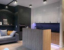 Nowoczesny salon z kuchnią w szarościach - zdjęcie od Le Pukka concept store