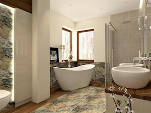 Średnia beżowa łazienka w bloku w domu jednorodzinnym bez okna - zdjęcie od Stylowy Kąt