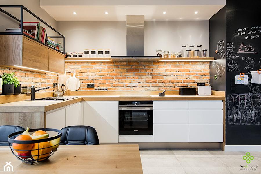 przytulne mieszkanie - Średnia otwarta szara kuchnia w kształcie litery l, styl industrialny - zdjęcie od Art of Home