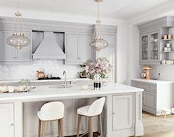 Kuchnia - Średnia otwarta biała kuchnia w kształcie litery l z wyspą z oknem, styl prowansalski - zdjęcie od FERRO