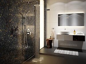 Łazienka - Średnia biała czarna łazienka z oknem, styl nowojorski - zdjęcie od FERRO