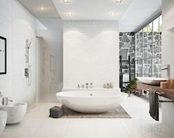 Łazienka - Duża beżowa łazienka w domu jednorodzinnym jako salon kąpielowy z oknem, styl skandynawski - zdjęcie od FERRO