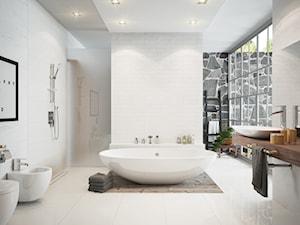 Łazienka - Duża biała łazienka w domu jednorodzinnym jako salon kąpielowy z oknem, styl skandynawski - zdjęcie od FERRO