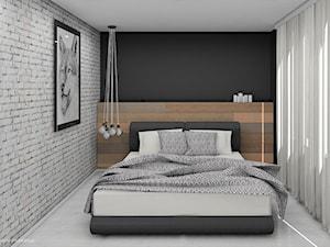 Sypialnia z drewnianym zagłówkiem - zdjęcie od Interium Projekt