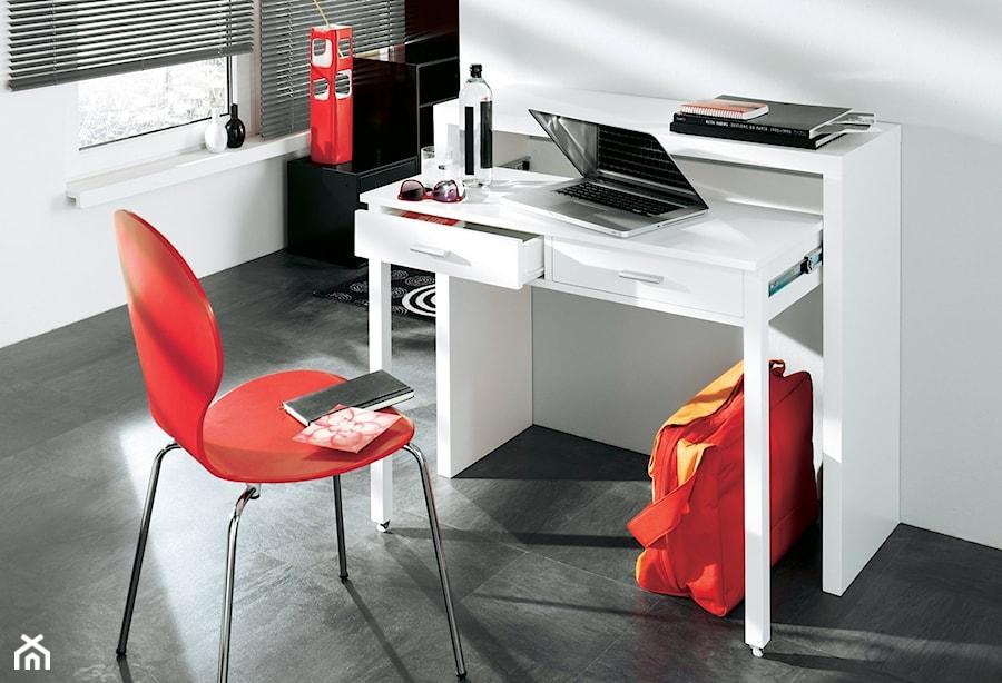Aranżacje wnętrz - Biuro: Białe, wysuwane biurko CONSOLE - onemarket.pl - meble i dodatki. Przeglądaj, dodawaj i zapisuj najlepsze zdjęcia, pomysły i inspiracje designerskie. W bazie mamy już prawie milion fotografii!