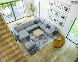 Dom w stylu nowoczesnym w Mielcu. - Duży biały salon z tarasem / balkonem, styl nowoczesny - zdjęcie od MEEKO Architekci - Homebook