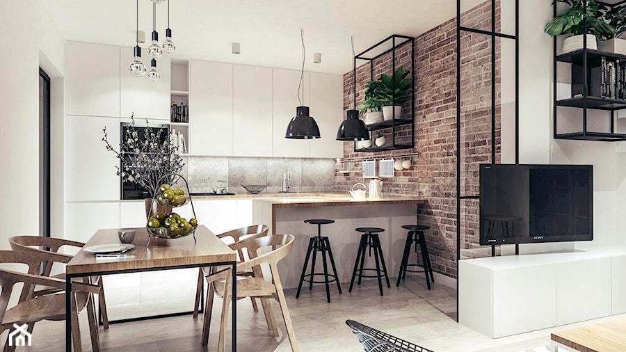 Mieszkanie w stylu loftowym w Krakowie - Średnia otwarta biała kuchnia w kształcie litery u w aneksie, styl industrialny - zdjęcie od MEEKO Architekci