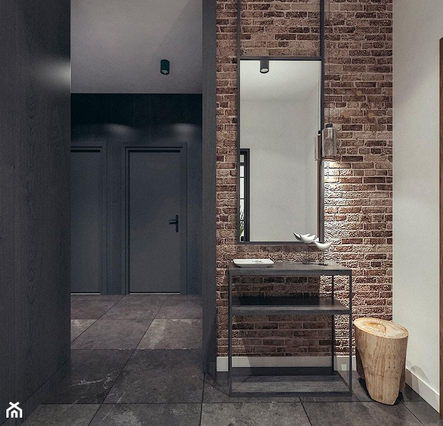 Mieszkanie w stylu loftowym w Krakowie - Średni biały czarny hol / przedpokój, styl industrialny - zdjęcie od MEEKO Architekci