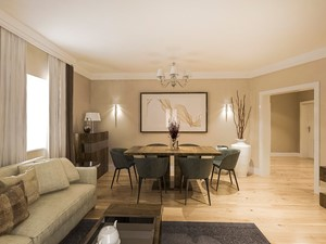 Dom w stylu klasycznym - Średnia otwarta pomarańczowa jadalnia w salonie, styl klasyczny - zdjęcie od MEEKO Architekci