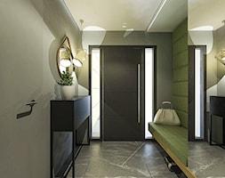 Dom w stylu nowoczesnym w Mielcu. - Średni szary zielony hol / przedpokój, styl nowoczesny - zdjęcie od MEEKO Architekci