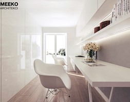 Dom w stylu minimalistycznym - Średnie szare biuro kącik do pracy, styl minimalistyczny - zdjęcie od MEEKO Architekci